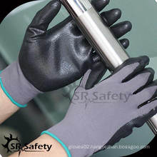 SRSAFETY 13G knitted nylon coated black normal foam nitrile gloves,unbreathable/black nitrile gloves