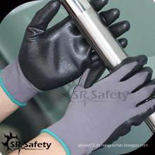 SRSAFETY 13G вязаные нейлоновые покрытые черные перчатки из натурального пенистого нитрила, непроницаемые / черные нитриловые перчатки
