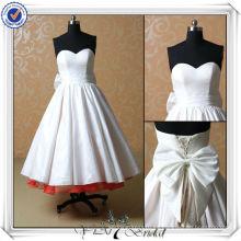 JJ3504 Sweetheart tafetán té longitud vestidos de boda cortos atractivos
