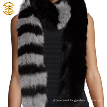 Hot Sale Classic Style Black and Gray Color Fox Fur Trim Scarf for Women