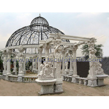Gazebo de mármol de piedra del jardín para la decoración antigua del jardín (GR036A)