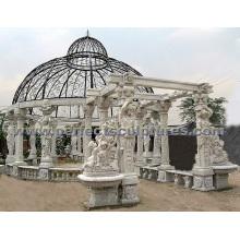 Gazebo de jardin en marbre de marbre pour la décoration de jardin antique (GR036A)
