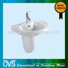 Cuarto de baño WC pared colgado Pedestal fregadero de cerámica Lavabo de mano con soporte