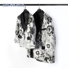 Elegant flocked floral suit jakcket men blazer