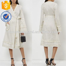 New Fashion Pale Blue Striped Wrap Dress Manufacture Wholesale Fashion Women Apparel (TA5249D)