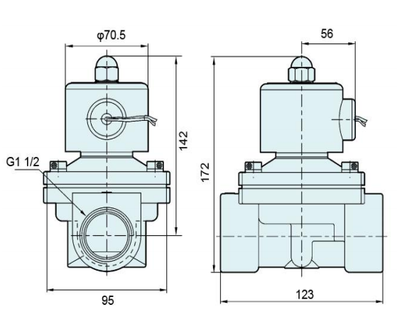 Dimension Drawing of Brass Body G1-1/2'' Solenoid Valve 2W400-40:
