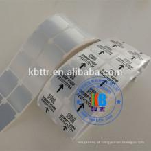 Etiquetas adesivas da etiqueta do poliéster do material do ANIMAL DE ESTIMAÇÃO da prata sintética para a impressora do código de barras