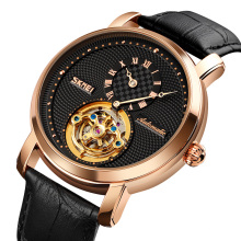 SKMEI 9240 Watch Automatic Men Watches Leather Band Mechanical Watch OEM