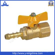 Vanne à bille à gaz en laiton fileté avec buse (YD-1035)