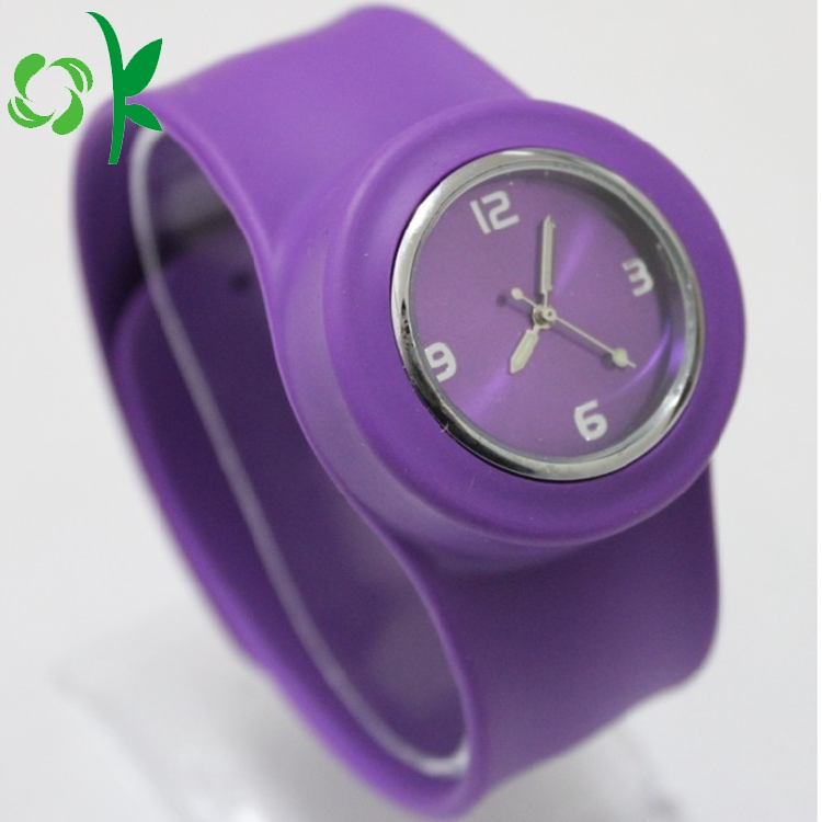 Purple Silicone Slap Band With Watch 3