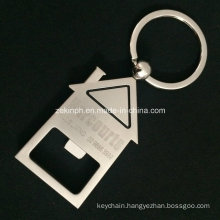 Custom Home Shape Bottle Opener Keychain with Laser Engraved Logo for Promotion