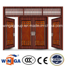 4 Doorleaf Big Size Exterior Metal Security Steel Door (W-SD-05)