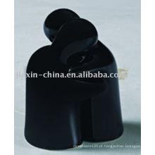 recipiente de sal e pimenta cerâmico cor preta JX-17NB