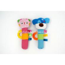 Hand Bells Plush Animal Soft Baby Rattle Toy