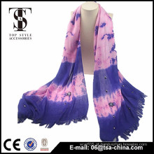 2015 lenço roxo bonito das mulheres com o fornecedor do lenço da borla