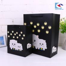 bolsas promocionales de papel kraft negro personalizado con logo