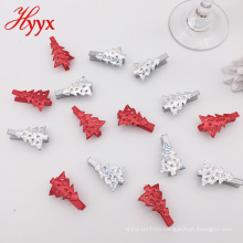 Wholesale christmas fashion cartoon multicolored small tree shaped spring wooden photo clip