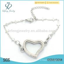 2015 Bracelete de corrente de coração, prata popular aço inoxidável 316l encantos pulseira para menina