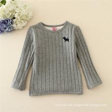 Großhandelsgrau scherzt Mädchen reizendes langärmliges warmes Sweatshirt T-Shirt Unterhemd für Winter / Frühling