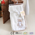 popular embroidered bear coral fleece baby heavy blanket 100% polyester receiving baby blanket