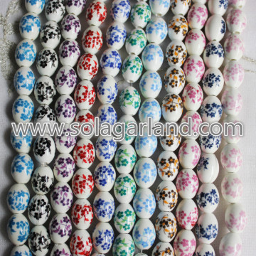 12 * 16MM Ovale Blossom Flower Patterns Perles Charms en céramique