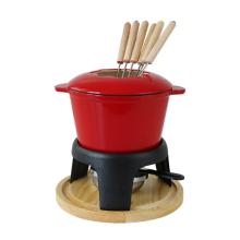 Juego de fondue de hierro fundido esmaltado resistente