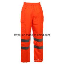 Class 2 Safety Oxford com PU de alta visibilidade, calças de segurança reflexiva