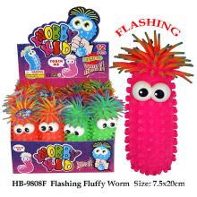 Funny Flashing Fluffy Worm Puffer Ball Toy