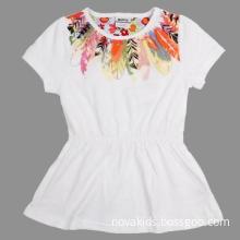 Children wear  baby girl summer dresses printed like birds feather