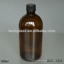 Botella de vidrio ámbar de 500 ml con tapa de plástico negro con mercado médico