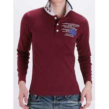 Camiseta de algodón con cuello redondo y manga larga