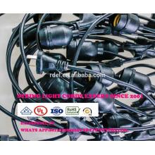 SLT74 0 Lumières de goulotte de jardin extérieur résistant aux intempéries G60 S14 ampoule, noir, 48 'BLANC VERT
