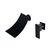 A0074B Ceramic cartridge single lever mixer tap faucet wall mounted black waterfall basin faucet