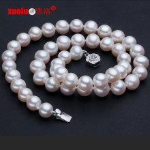 9-10mm круглые неподдельные пресноводные ювелирные изделия ожерелья перлы (E130015)
