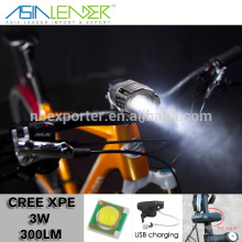 Professional Lighting Products 4 Light Level XPE 3W Cree Bicycle Light, Bicycle LED Light, USB Bicycle Light