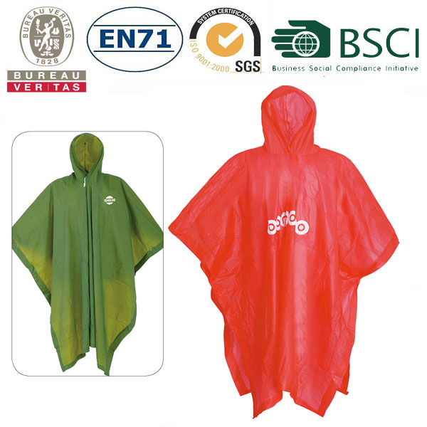 red and green pvc poncho