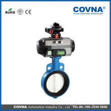 pneumatic cylinder butterfly control valve with PTFE seat
