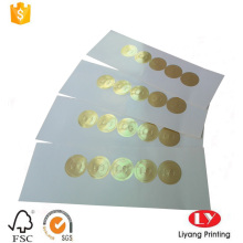 Round glossy gold stamping embossing paper sticker
