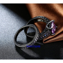 Black Plated Color CZ Jewelry Rings Set (R0848)