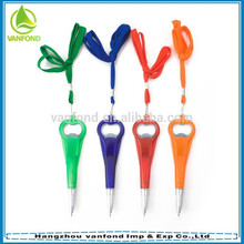 2 in 1 multi-functional promotional bottle opener pen with lanyard