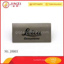 Laser black writing style metal label for bag fittings
