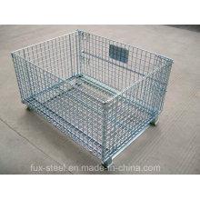 Cage pliable en acier de grillage / panier de stockage pour le support de palette