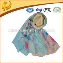 New Style Hijab Digital Printed 100% Silk Chiffon Shawl Turkish Silk Scarf