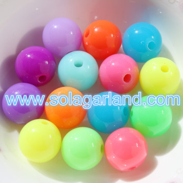 Acrylic Round Fluorescence Beads Loose Spacer Charms
