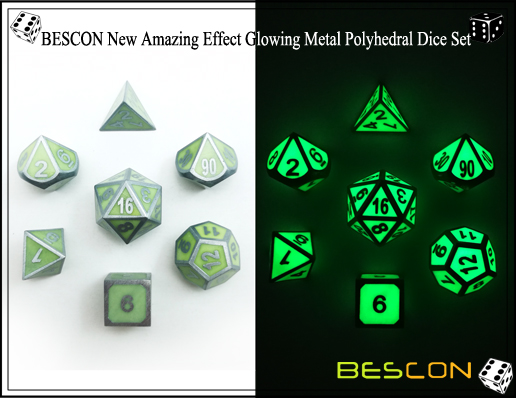 BESCON New Amazing Effect Glowing in the Dark Metal Polyhedral Role Playing RPG Game Dice Set of 7-4
