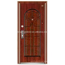 Puerta acorazada de madera de acero personalizado con hermoso color de grano de madera y diseño especial de panel superior arqueado