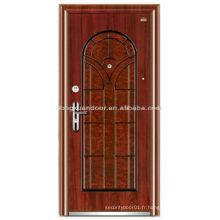 Porte blindée en bois en acier sur mesure avec une belle couleur de grain de bois et une conception spéciale de panneau supérieur en arche
