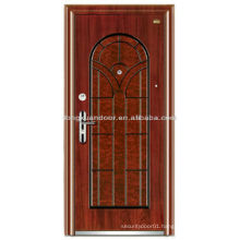 Custom Steel Wood Armored Door with Beautiful Wood Grain Color and Special Arched Top Panel Design