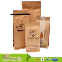 Sacs de métier marron d'emballage alimentaire refermable de papier d'emballage de Kraft de coutume certifiée par FDA avec les cravates et la valve