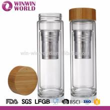 Infusor de bambú del té del vidrio de Borosilicate al por mayor con el tamiz - boca ancha, taza aislada vacío portátil del viaje del café